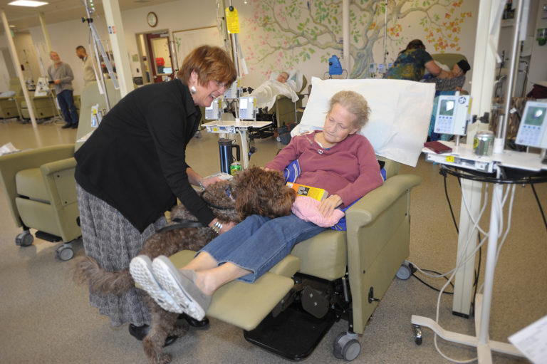 Dog Sitting on Cancer Patient's Lap